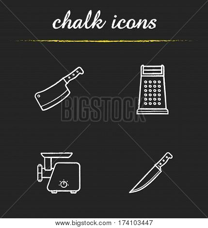 Kitchen equipment chalk icons set. Butcher's chopper, grater, meat grinder, knife. Isolated vector chalkboard illustrations