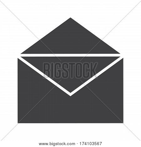 Open letter icon. Email silhouette symbol. Received sms message. Negative space. Vector isolated illustration