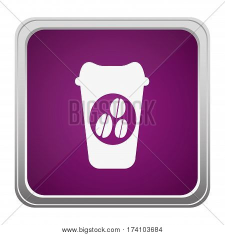 violet square button relief with silhouette glass disposable for hot drinks with lid vector illustration