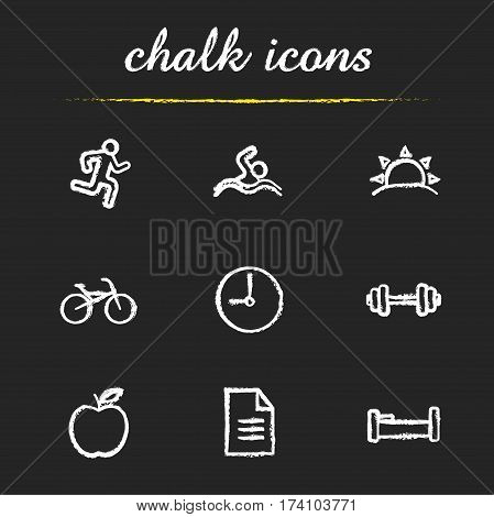 Healthy lifestyle chalk icons set. Daily timetable. Runner, swimmer, sunrise, bike, clock, gym barbell, apple, file, bed. Isolated vector chalkboard illustrations