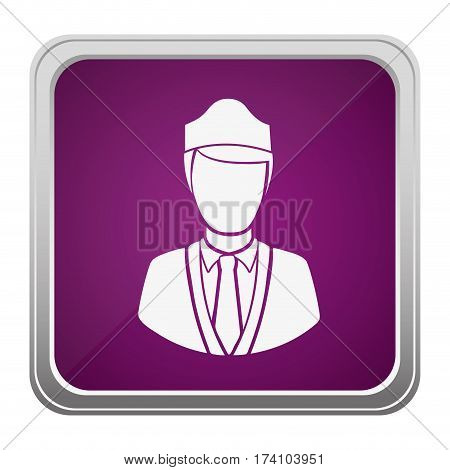 violet square button relief with silhouette stewardess half body vector illustration