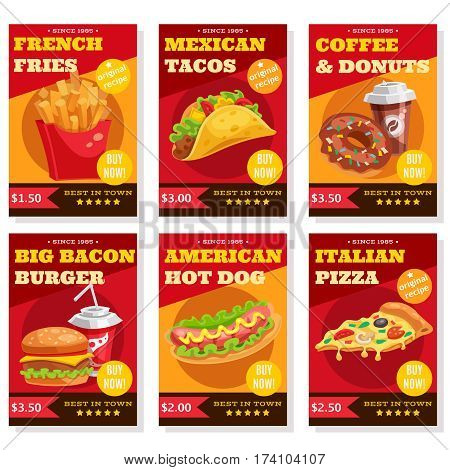 Set of posters in red yellow colors with fast food dishes coffee and donuts isolated vector illustration