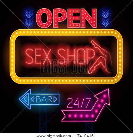 Electric sign board poster sex shop and twenty four hour bar colorful signs frames and arrows vector illustration