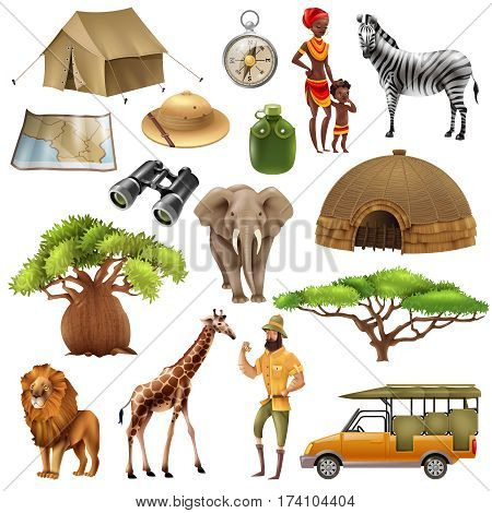 Colored and isolated safari set icon set with elements and attributes on theme vector illustration
