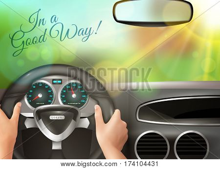 Driving car colored background with human hands steering wheel and sunset outside windscreen realistic vector illustration