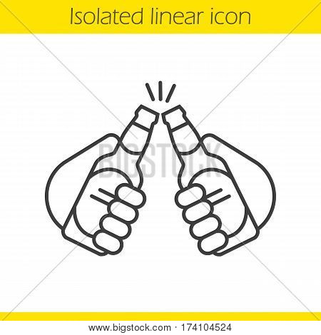 Toasting beer bottles linear icon. Thin line illustration. Hands holding beer bottles. Cheers contour symbol. Vector isolated outline drawing