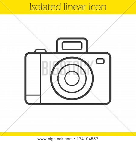 Photo camera linear icon. Thin line illustration. Slr vintage photocamera contour symbol. Vector isolated outline drawing