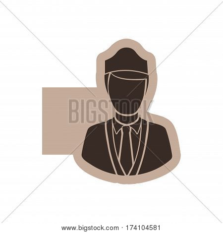 color emblem with silhouette stewardess half body vector illustration