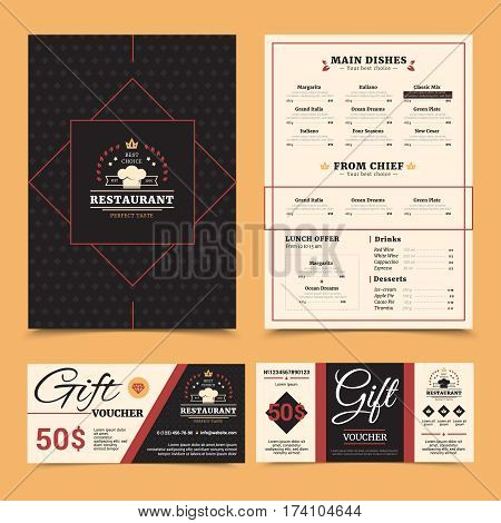Expensive restaurant menu with chef dishes choice and gift voucher card stylish set pinboard background vector illustration