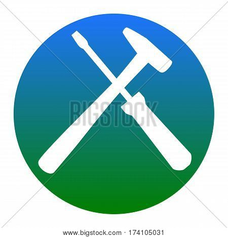 Tools sign illustration. Vector. White icon in bluish circle on white background. Isolated.