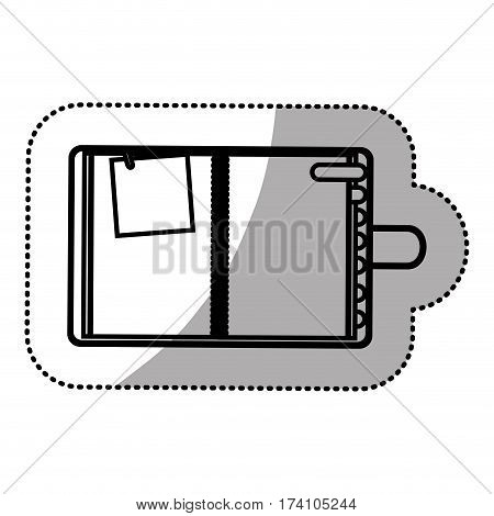 monochrome sticker with notepad and page tab vector illustration