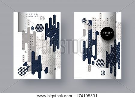 Set, templates A4 pages. Abstract monochrome collage. Geometric background with 3D elements. Trendy compositions for business, technology, web, advertising. Modern style design. Vector illustration