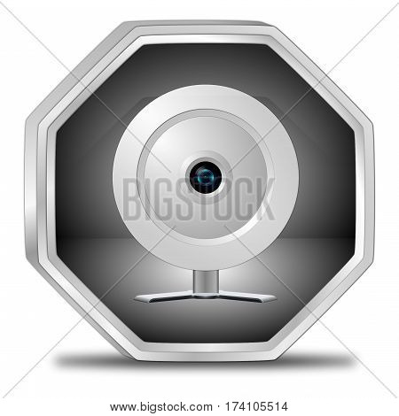 silver Button with Webcam - 3D illustration