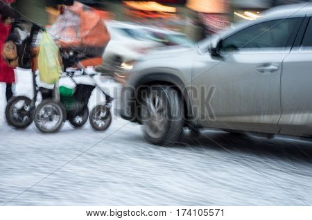 Woman With  Baby Carriage On Zebra Crossing