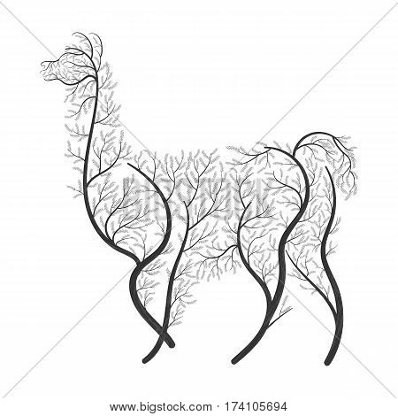 Lama Alpaca guanaco stylized bushes on a white background for use as logos on cards in printing posters invitations web design and other purposes.