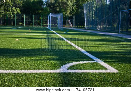 Corner of a green empty soccer field in Belgrade, Serbia