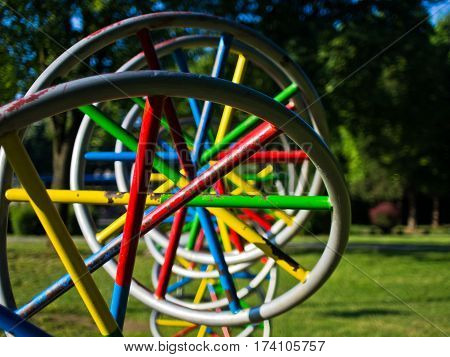 Huge and colorful DNA model in a park at Belgrade, Serbia