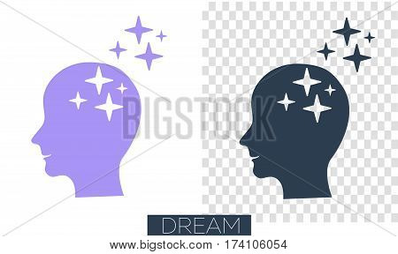 concept of realization of a dream thoughts in the form of human silhouette with stars