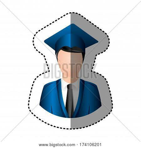 sticker half body man with graduation outfit faceless vector illustration