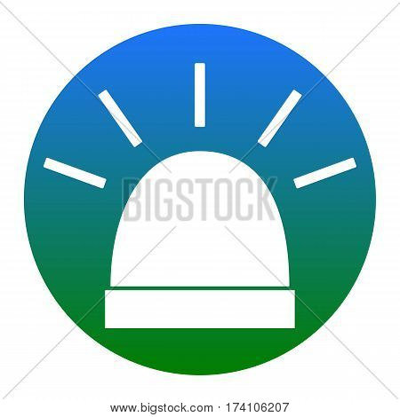 Police single sign. Vector. White icon in bluish circle on white background. Isolated.
