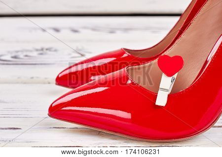 Vamp shoes and heart. Elegant gift for woman.