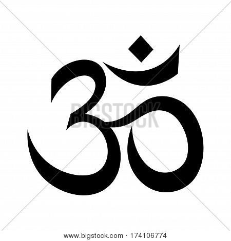 Om or Aum Indian sacred sound. The symbol of the divine triad of Brahma, Vishnu and Shiva.
