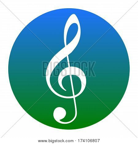 Music violin clef sign. G-clef. Treble clef. Vector. White icon in bluish circle on white background. Isolated.
