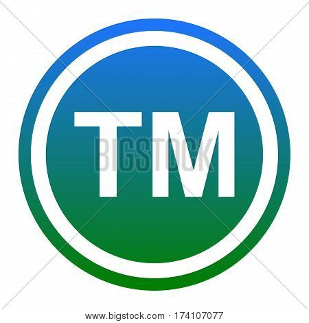 Trade mark sign. Vector. White icon in bluish circle on white background. Isolated.