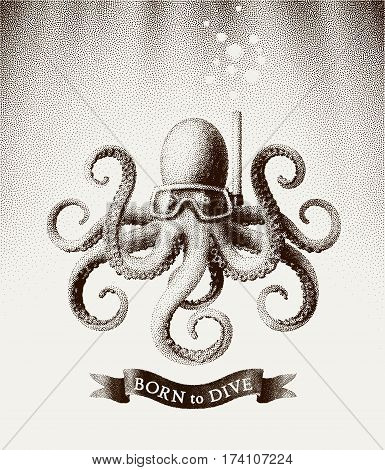 Octopus wearing a mask for diving under water. Vector illustration in style of vintage etchings. Eps8. RGB Global colors