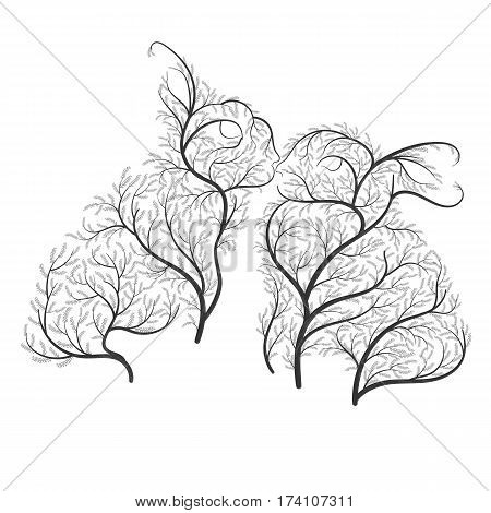 Cute Kissing rabbits stylized bushes on a white background for use as logos on cards in printing posters invitations web design and other purposes.