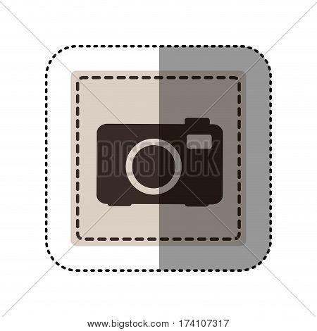 sticker monochrome square with analog camera vector illustration