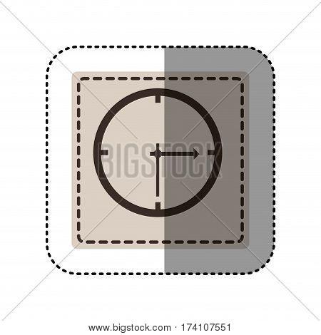 sticker monochrome square with wall clock vector illustration