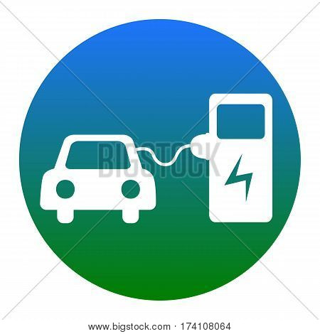 Electric car battery charging sign. Vector. White icon in bluish circle on white background. Isolated.