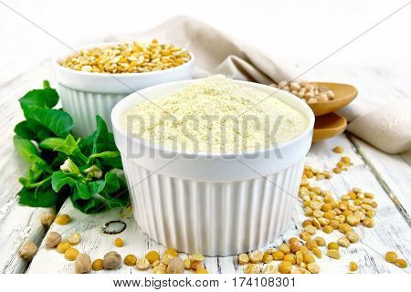Flour Pea And Split Pease In Bowls On Board