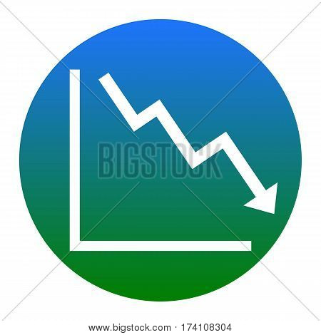 Arrow pointing downwards showing crisis. Vector. White icon in bluish circle on white background. Isolated.