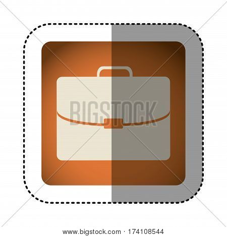 sticker color square with executive suitcase vector illustration