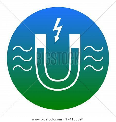 Magnet with magnetic force indication. Vector. White icon in bluish circle on white background. Isolated.