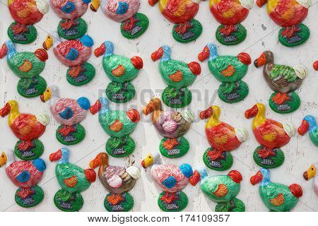 CHAMAREL, MAURITIUS - DECEMBER 02, 2012: View to the dodo bird magnets at a souvenir stall in Chamarel, Mauritius.