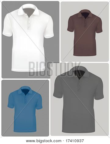Photo-realistic vector illustration. Polo shirts (men) on the design backgrounds. Black and white, blue and brown.