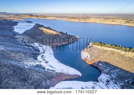 aerial view of Horsetooth Reservoir at foothills of Rocky Mountain bear Fort Collins, Colorado, winter scenery