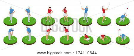 Man and woman playing golf on a golf course. Golf club concept. Isometric Sport design elements. Flat vector set
