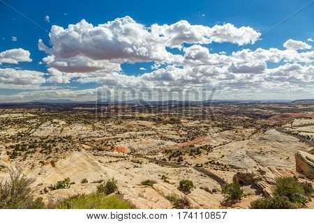 a view of the Grand Staircase Escalante National Monument from Scenic Route 12 at Head of the Rocks Overlook in Garfield County Utah.