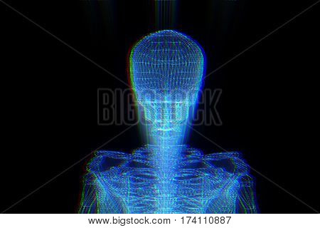 Human Skeleton Wireframe Hologram in Motion. Nice 3D Rendering
