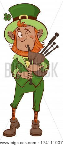 St. Patricks Day. Man musician and bagpipes. Isolated on white vector cartoon illustration