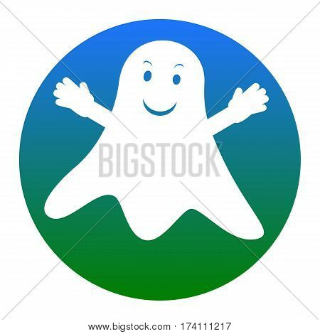 Ghost isolated sign. Vector. White icon in bluish circle on white background. Isolated.