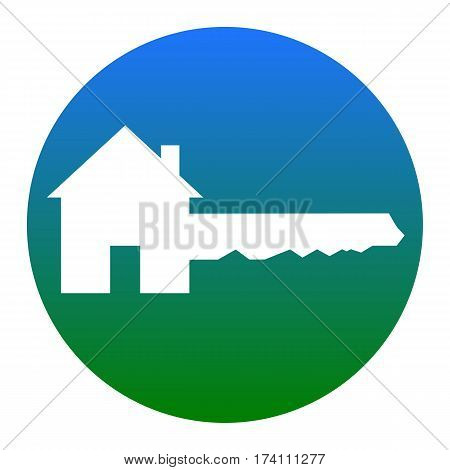 Home Key sign. Vector. White icon in bluish circle on white background. Isolated.
