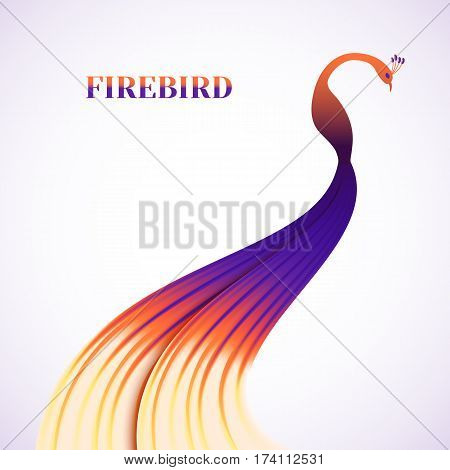 Fabulous colorful Firebird lights on a white background