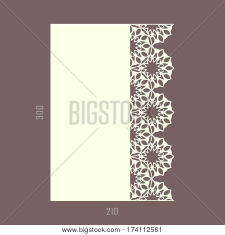 DIY laser cutting vector card. Wedding die cut invitation template. Paper lace cutting. Scrapbook cutout menu. A4.
