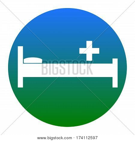 Hospital sign illustration. Vector. White icon in bluish circle on white background. Isolated.