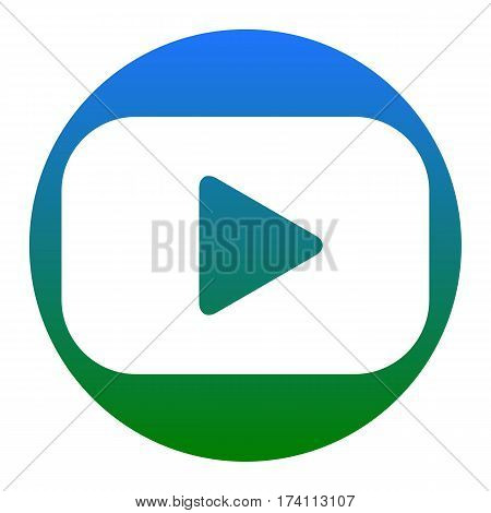 Play button sign. Vector. White icon in bluish circle on white background. Isolated.